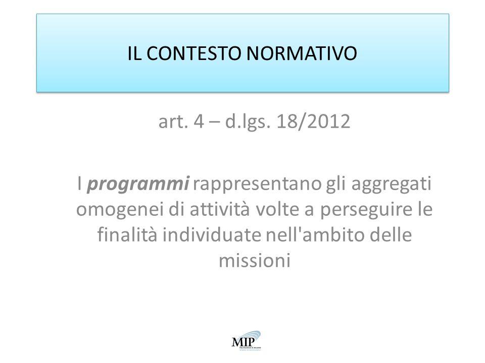 IL CONTESTO NORMATIVO art. 4 – d.lgs. 18/2012 I programmi rappresentano gli aggregati omogenei di attività volte a perseguire le finalità individuate