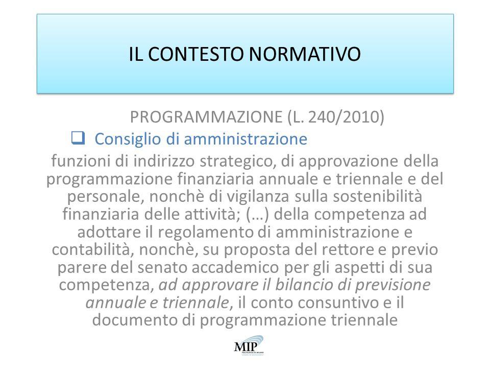 IL CONTESTO NORMATIVO PROGRAMMAZIONE (L. 240/2010) Consiglio di amministrazione funzioni di indirizzo strategico, di approvazione della programmazione