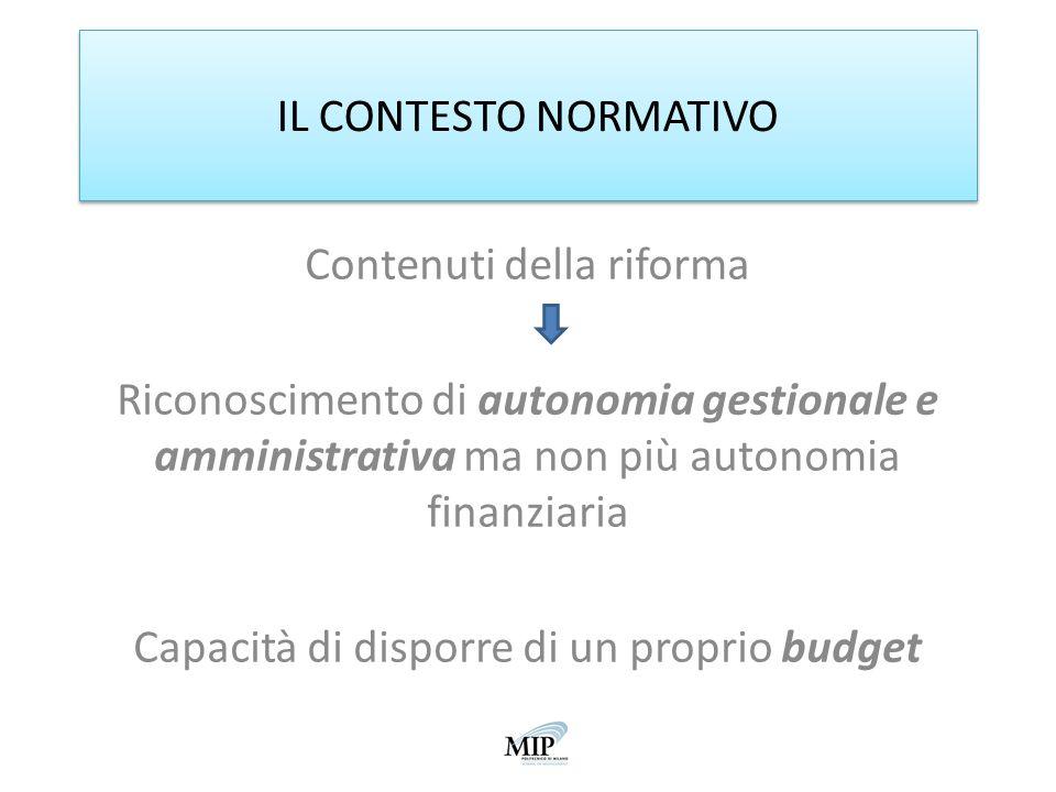 IL CONTESTO NORMATIVO Contenuti della riforma Riconoscimento di autonomia gestionale e amministrativa ma non più autonomia finanziaria Capacità di dis