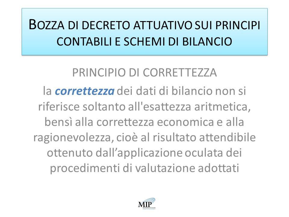 B OZZA DI DECRETO ATTUATIVO SUI PRINCIPI CONTABILI E SCHEMI DI BILANCIO PRINCIPIO DI CORRETTEZZA la correttezza dei dati di bilancio non si riferisce