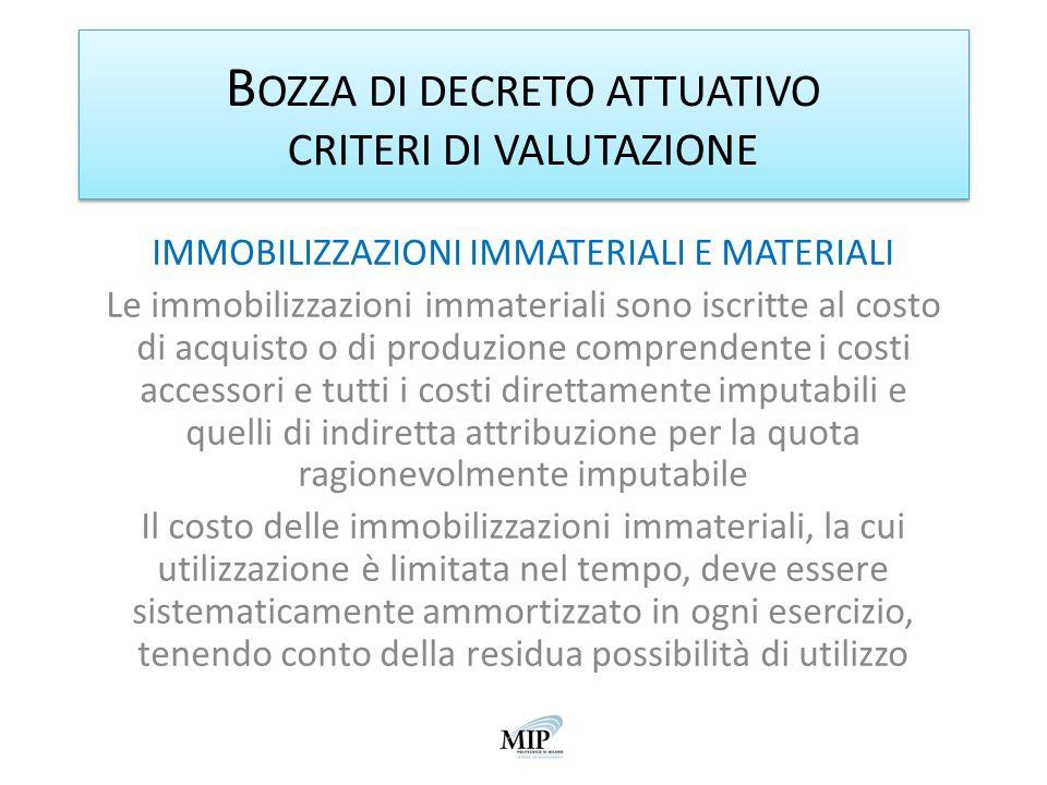 B OZZA DI DECRETO ATTUATIVO CRITERI DI VALUTAZIONE IMMOBILIZZAZIONI IMMATERIALI E MATERIALI Le immobilizzazioni immateriali sono iscritte al costo di