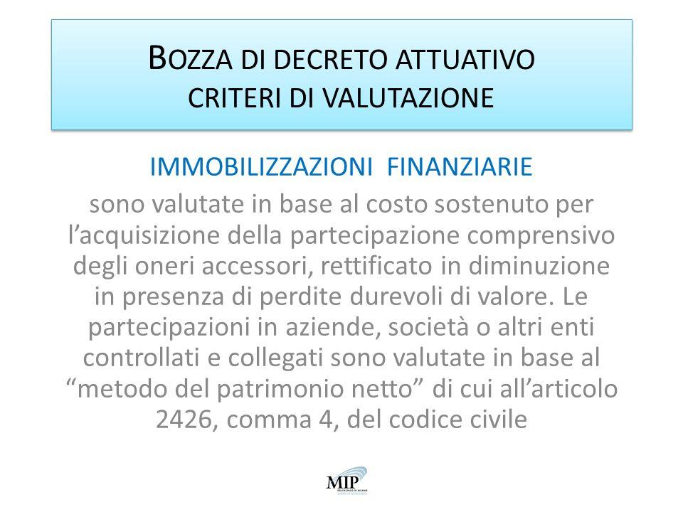 B OZZA DI DECRETO ATTUATIVO CRITERI DI VALUTAZIONE IMMOBILIZZAZIONI FINANZIARIE sono valutate in base al costo sostenuto per lacquisizione della parte