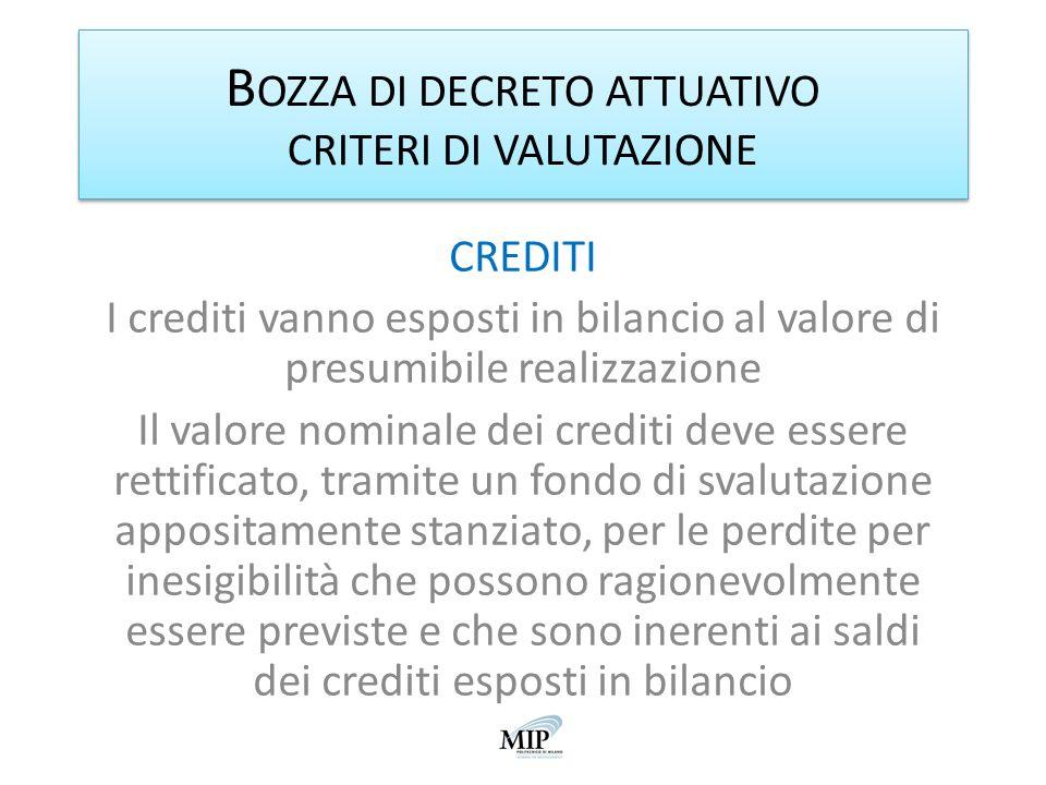 B OZZA DI DECRETO ATTUATIVO CRITERI DI VALUTAZIONE CREDITI I crediti vanno esposti in bilancio al valore di presumibile realizzazione Il valore nomina
