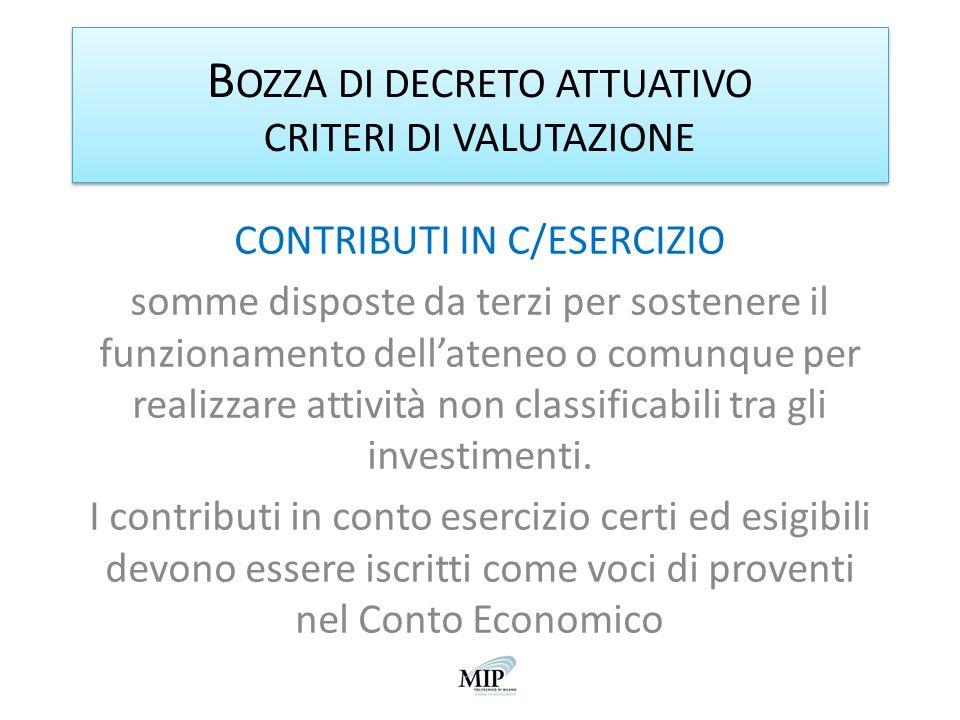 B OZZA DI DECRETO ATTUATIVO CRITERI DI VALUTAZIONE CONTRIBUTI IN C/ESERCIZIO somme disposte da terzi per sostenere il funzionamento dellateneo o comun