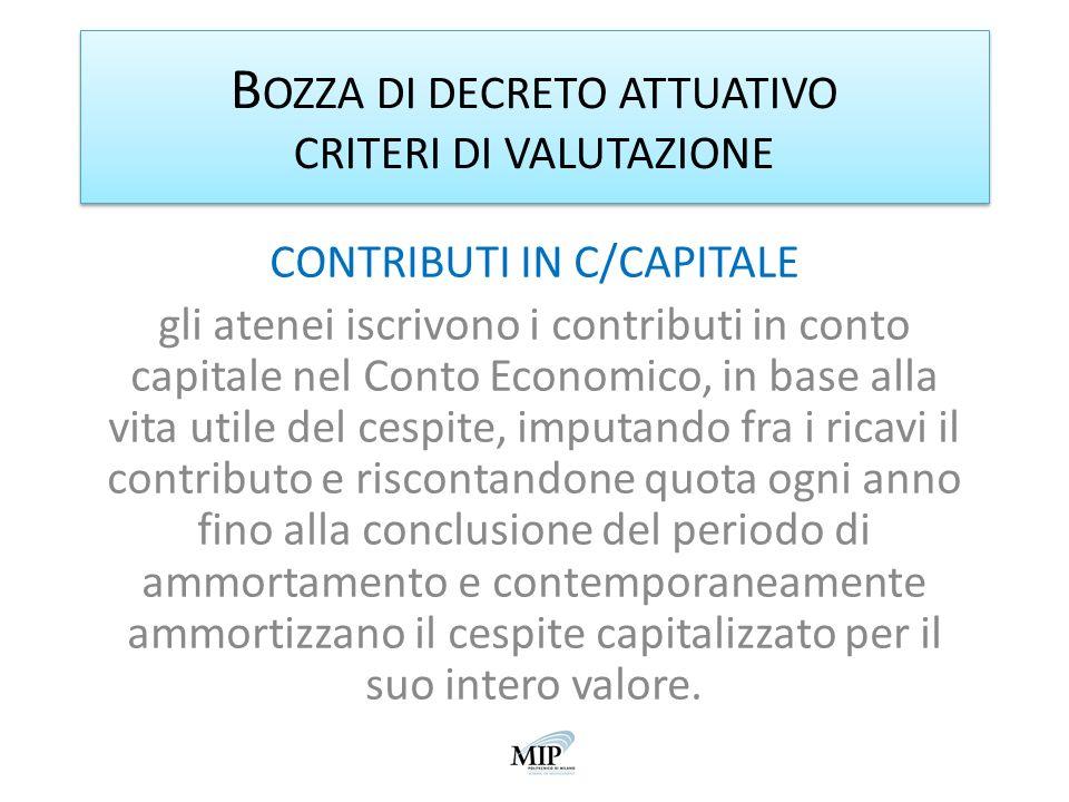 B OZZA DI DECRETO ATTUATIVO CRITERI DI VALUTAZIONE CONTRIBUTI IN C/CAPITALE gli atenei iscrivono i contributi in conto capitale nel Conto Economico, i