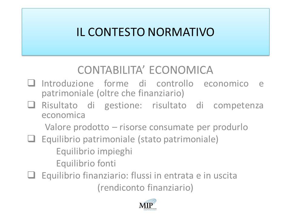 IL CONTESTO NORMATIVO CONTABILITA ECONOMICA Introduzione forme di controllo economico e patrimoniale (oltre che finanziario) Risultato di gestione: ri