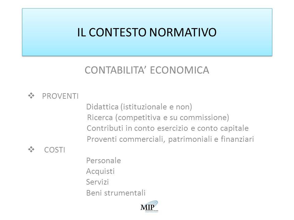 IL CONTESTO NORMATIVO CONTABILITA ECONOMICA PROVENTI Didattica (istituzionale e non) Ricerca (competitiva e su commissione) Contributi in conto eserci