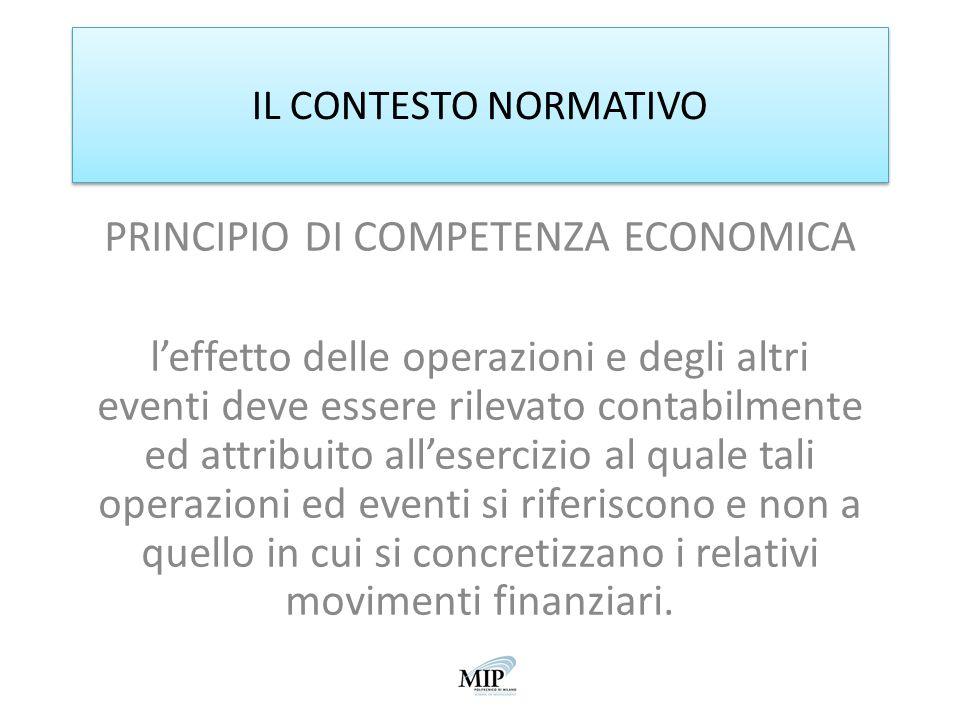 IL CONTESTO NORMATIVO PRINCIPIO DI COMPETENZA ECONOMICA leffetto delle operazioni e degli altri eventi deve essere rilevato contabilmente ed attribuit