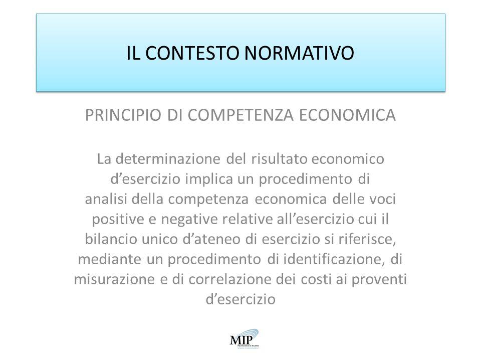 IL CONTESTO NORMATIVO PRINCIPIO DI COMPETENZA ECONOMICA La determinazione del risultato economico desercizio implica un procedimento di analisi della