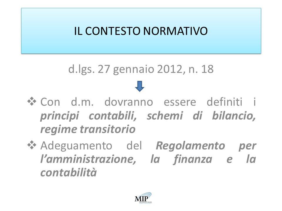 IL CONTESTO NORMATIVO d.lgs. 27 gennaio 2012, n. 18 Con d.m. dovranno essere definiti i principi contabili, schemi di bilancio, regime transitorio Ade