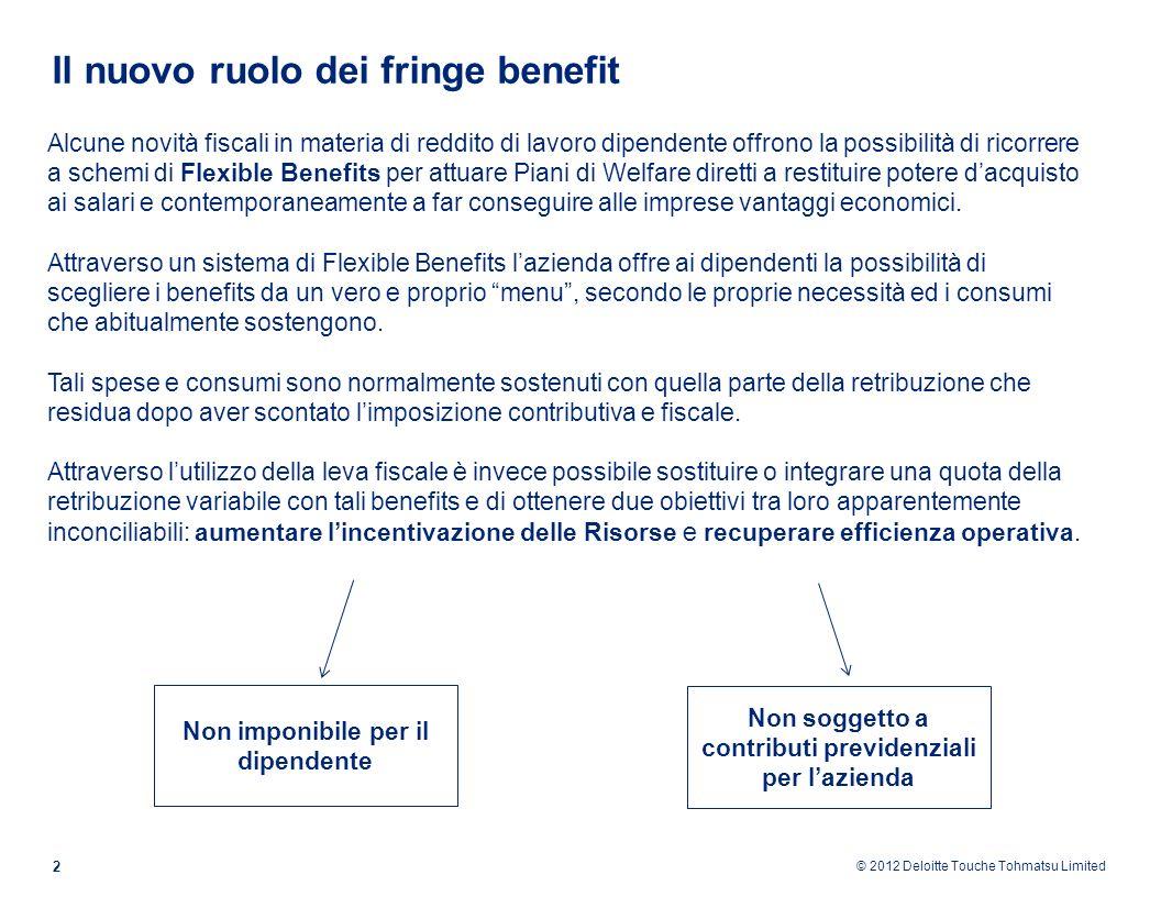© 2012 Deloitte Touche Tohmatsu Limited Il nuovo ruolo dei fringe benefit 2 Alcune novità fiscali in materia di reddito di lavoro dipendente offrono l