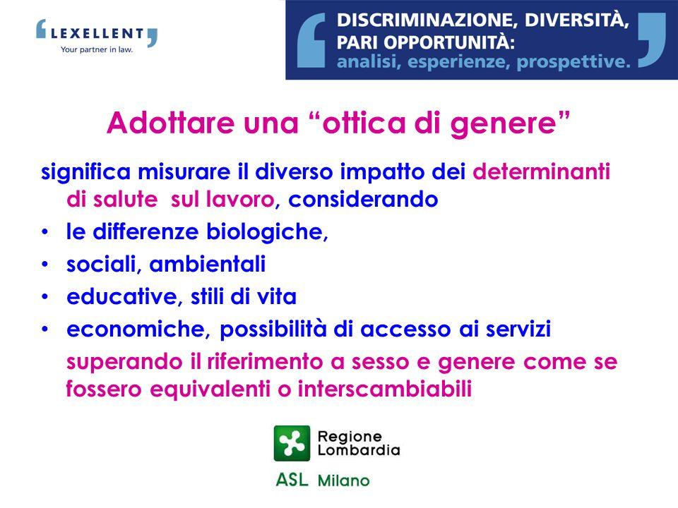 Adottare una ottica di genere significa misurare il diverso impatto dei determinanti di salute sul lavoro, considerando le differenze biologiche, soci