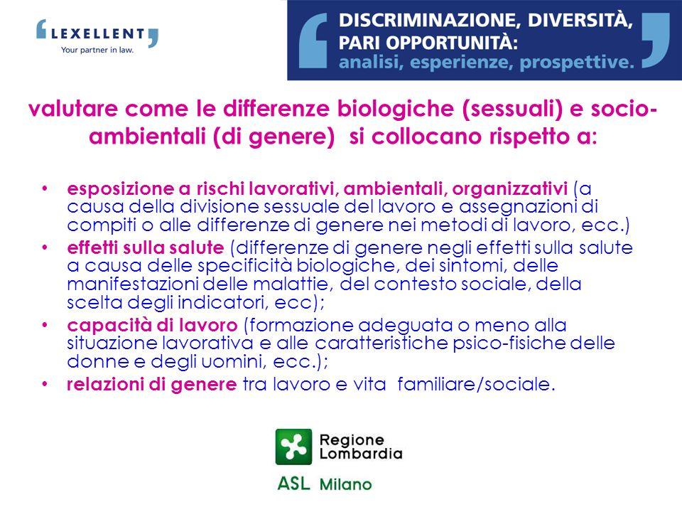valutare come le differenze biologiche (sessuali) e socio- ambientali (di genere) si collocano rispetto a: esposizione a rischi lavorativi, ambientali