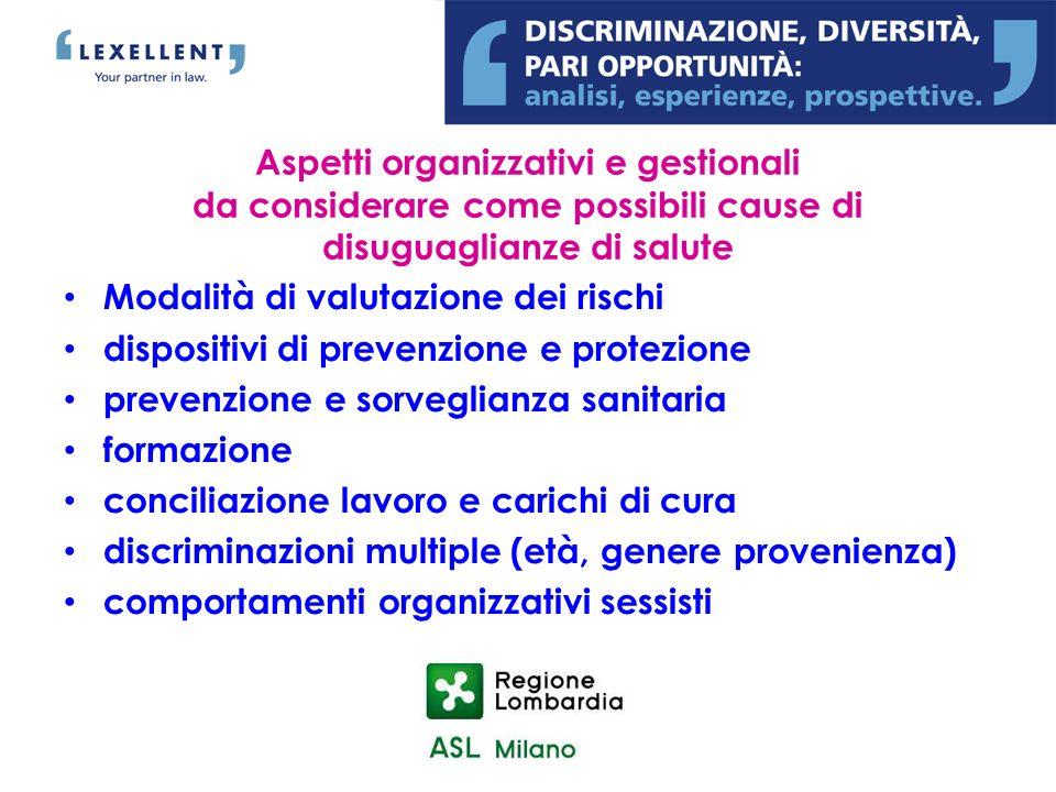 Aspetti organizzativi e gestionali da considerare come possibili cause di disuguaglianze di salute Modalità di valutazione dei rischi dispositivi di p