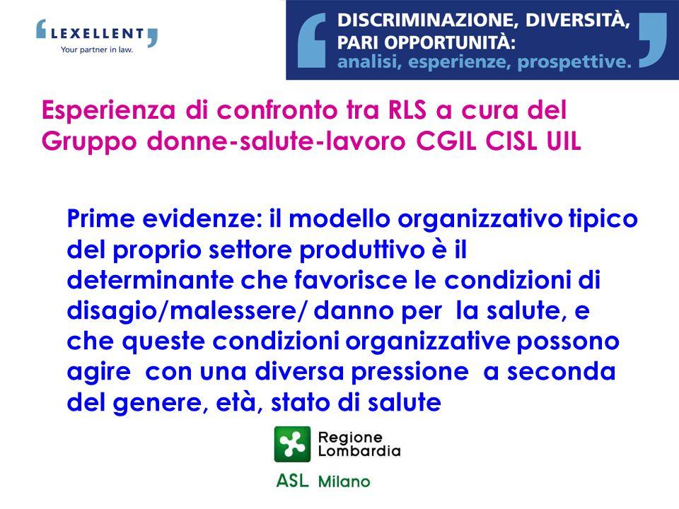 Prime evidenze: il modello organizzativo tipico del proprio settore produttivo è il determinante che favorisce le condizioni di disagio/malessere/ dan