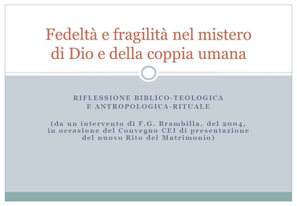 RIFLESSIONE BIBLICO-TEOLOGICA E ANTROPOLOGICA-RITUALE (da un intervento di F.G. Brambilla, del 2004, in occasione del Convegno CEI di presentazione de