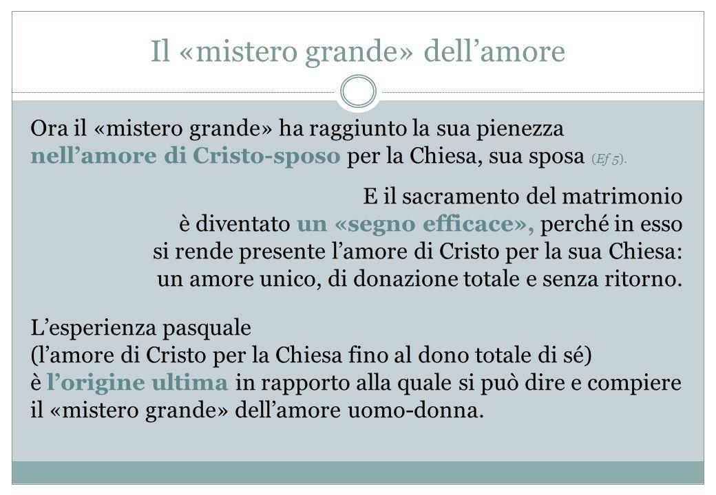 Il «mistero grande» dellamore Ora il «mistero grande» ha raggiunto la sua pienezza nellamore di Cristo-sposo per la Chiesa, sua sposa (Ef 5). E il sac