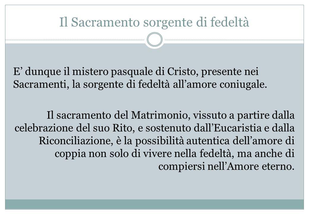 Il Sacramento sorgente di fedeltà E dunque il mistero pasquale di Cristo, presente nei Sacramenti, la sorgente di fedeltà allamore coniugale. Il sacra