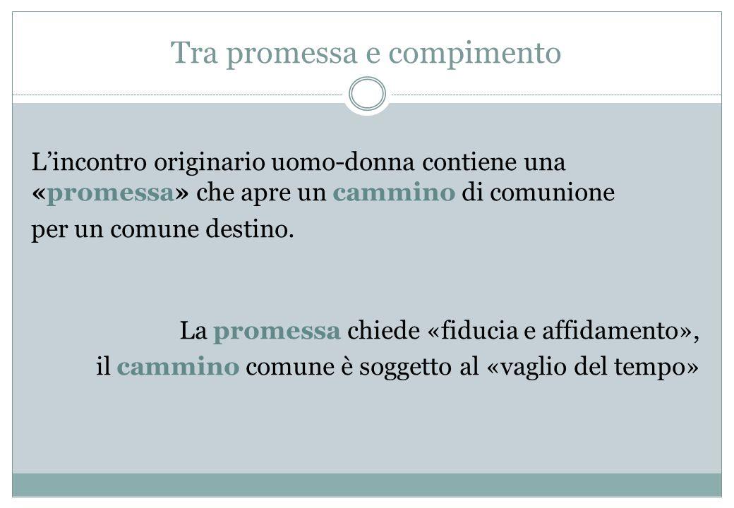 Tra promessa e compimento Lincontro originario uomo-donna contiene una «promessa» che apre un cammino di comunione per un comune destino. La promessa