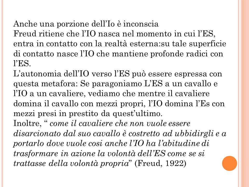 Anche una porzione dellIo è inconscia Freud ritiene che lIO nasca nel momento in cui lES, entra in contatto con la realtà esterna:su tale superficie d