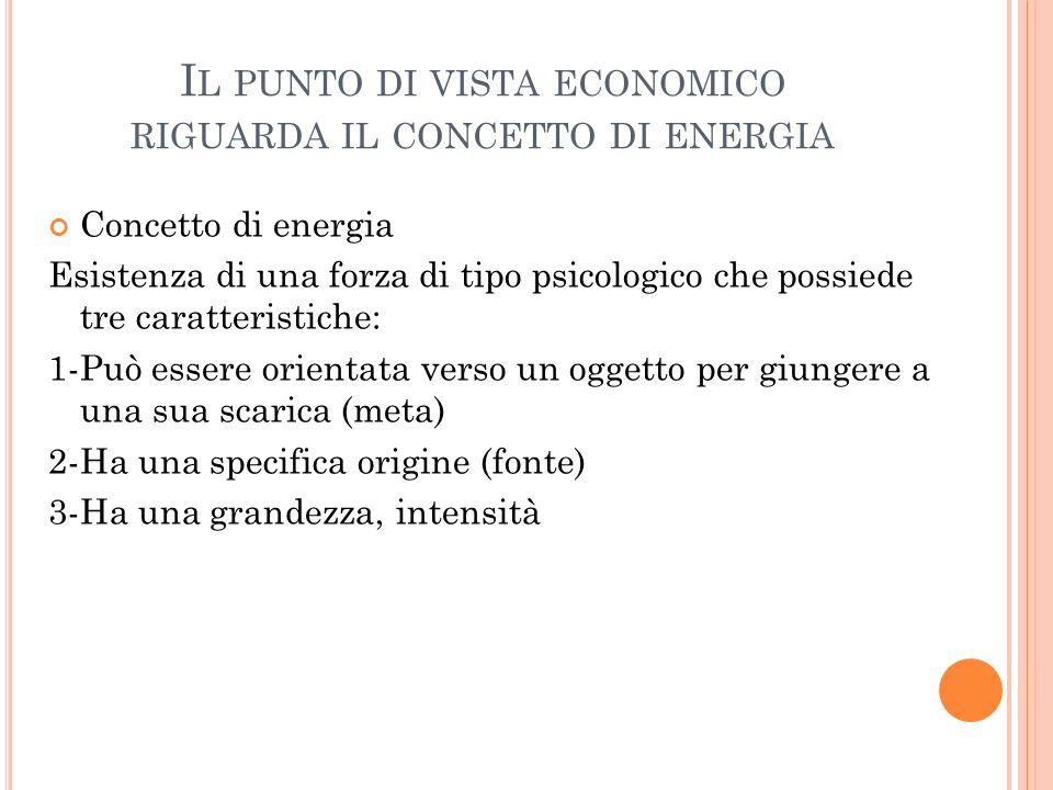 I L PUNTO DI VISTA ECONOMICO RIGUARDA IL CONCETTO DI ENERGIA Concetto di energia Esistenza di una forza di tipo psicologico che possiede tre caratteri
