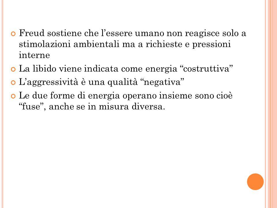 Freud sostiene che lessere umano non reagisce solo a stimolazioni ambientali ma a richieste e pressioni interne La libido viene indicata come energia