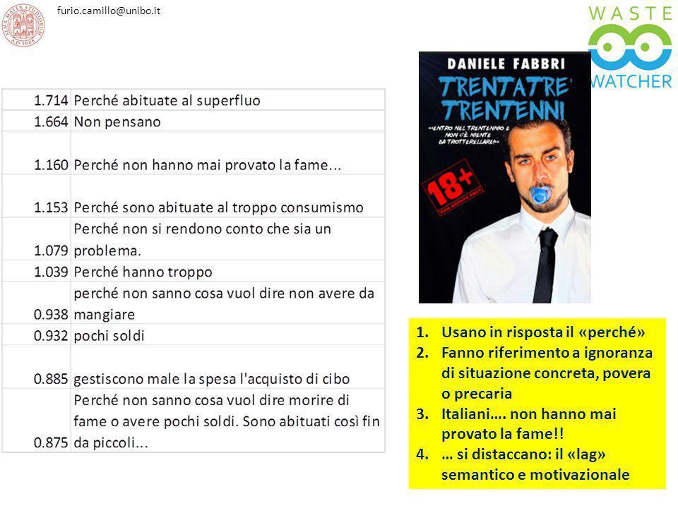 furio.camillo@unibo.it 1.Usano in risposta il «perché» 2.Fanno riferimento a ignoranza di situazione concreta, povera o precaria 3.Italiani…. non hann