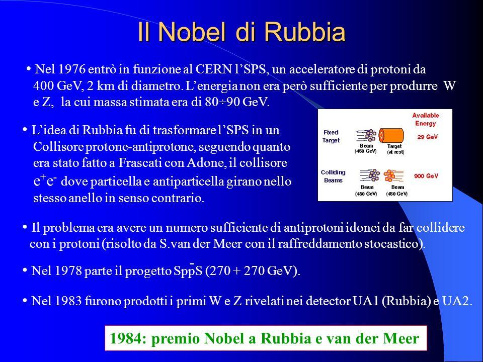 Il Nobel di Rubbia Nel 1976 entrò in funzione al CERN lSPS, un acceleratore di protoni da 400 GeV, 2 km di diametro. Lenergia non era però sufficiente