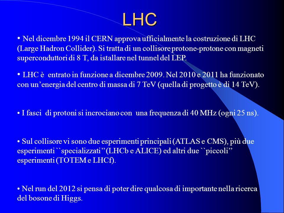 LHC Nel dicembre 1994 il CERN approva ufficialmente la costruzione di LHC (Large Hadron Collider). Si tratta di un collisore protone-protone con magne