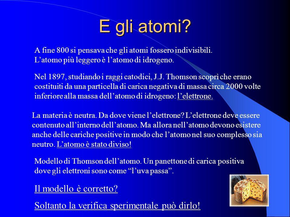 E gli atomi? A fine 800 si pensava che gli atomi fossero indivisibili. Latomo più leggero è latomo di idrogeno. Nel 1897, studiando i raggi catodici,