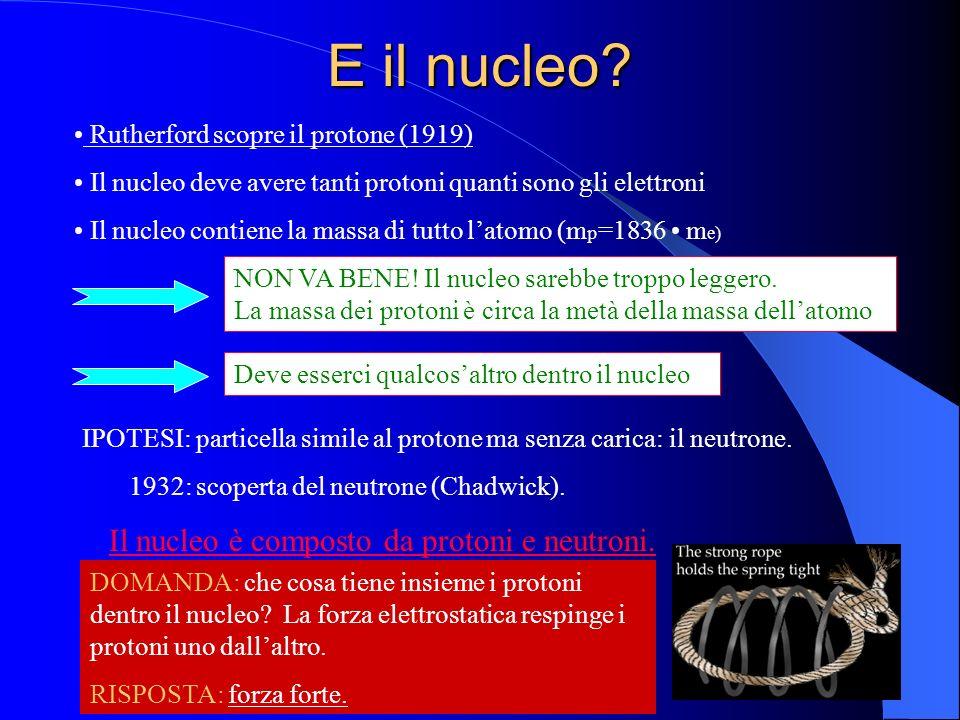 E il nucleo? Il nucleo deve avere tanti protoni quanti sono gli elettroni Il nucleo contiene la massa di tutto latomo (m p =1836 m e) Rutherford scopr