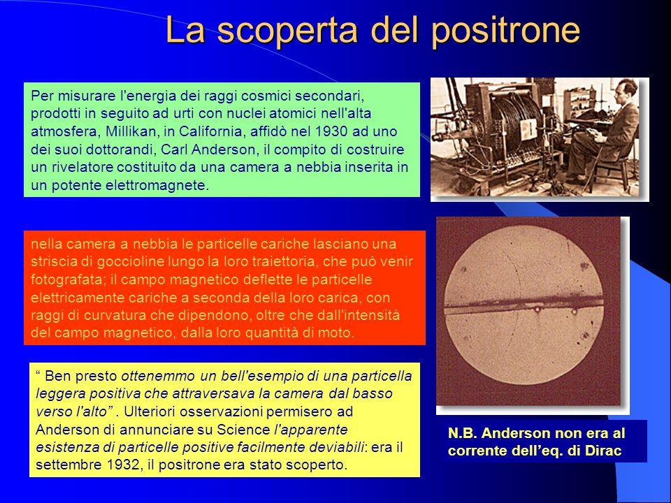 La scoperta del positrone Per misurare l'energia dei raggi cosmici secondari, prodotti in seguito ad urti con nuclei atomici nell'alta atmosfera, Mill