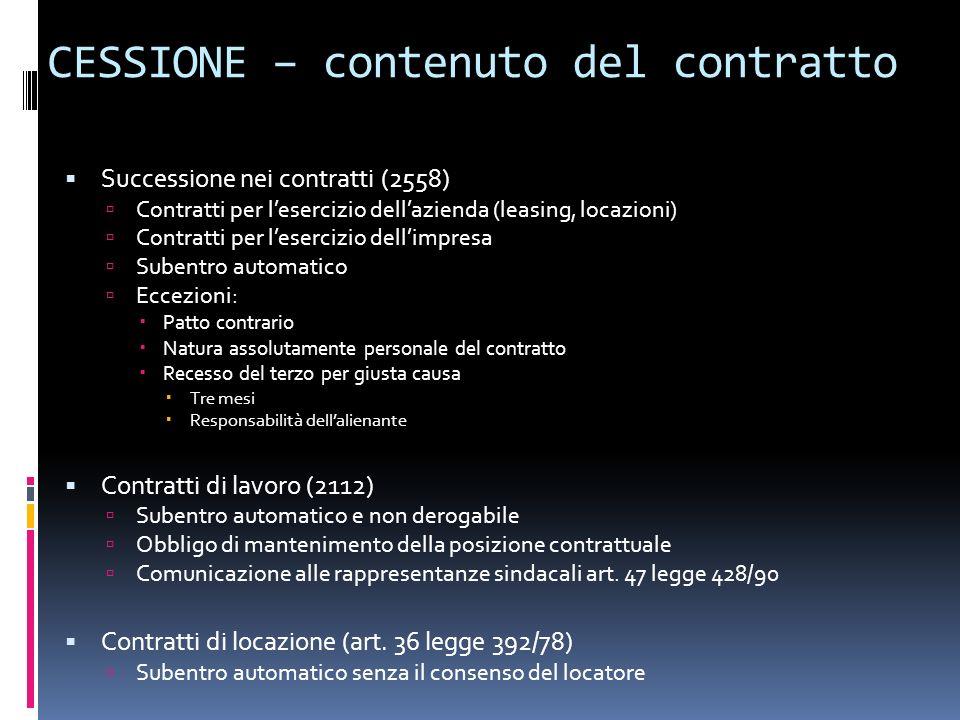 CESSIONE – contenuto del contratto Successione nei contratti (2558) Contratti per lesercizio dellazienda (leasing, locazioni) Contratti per lesercizio