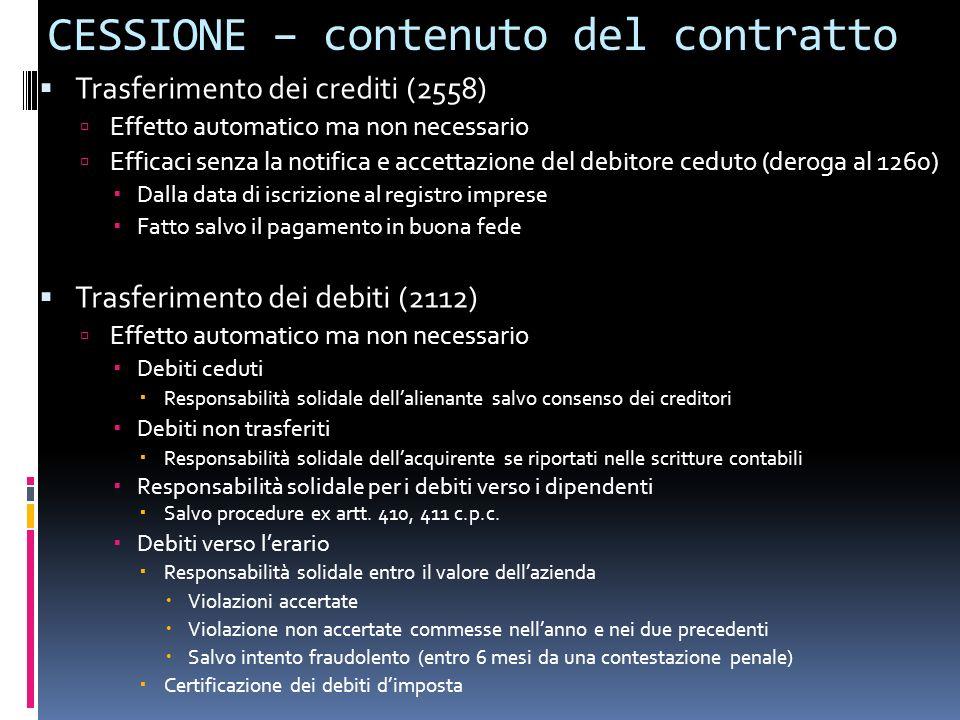 CESSIONE – contenuto del contratto Trasferimento dei crediti (2558) Effetto automatico ma non necessario Efficaci senza la notifica e accettazione del