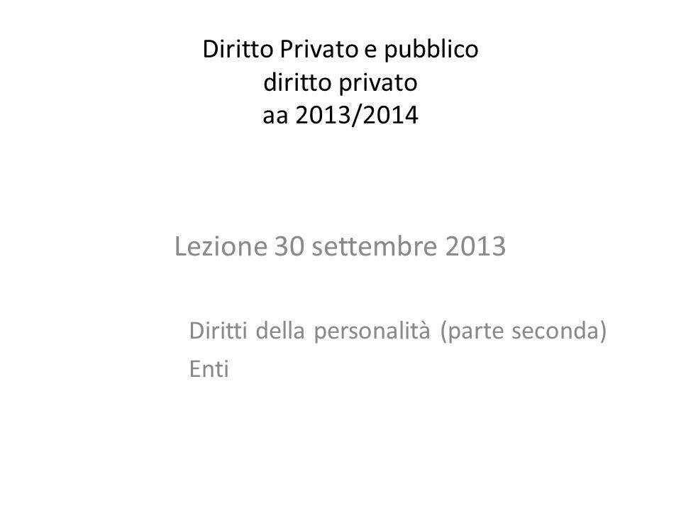 Diritto Privato e pubblico diritto privato aa 2013/2014 Lezione 30 settembre 2013 Diritti della personalità (parte seconda) Enti