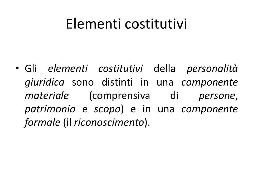 Elementi costitutivi Gli elementi costitutivi della personalità giuridica sono distinti in una componente materiale (comprensiva di persone, patrimonio e scopo) e in una componente formale (il riconoscimento).