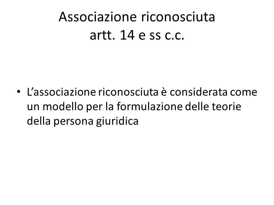 Associazione riconosciuta artt. 14 e ss c.c.