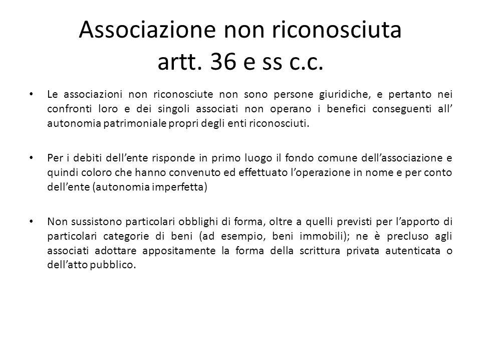 Associazione non riconosciuta artt. 36 e ss c.c.