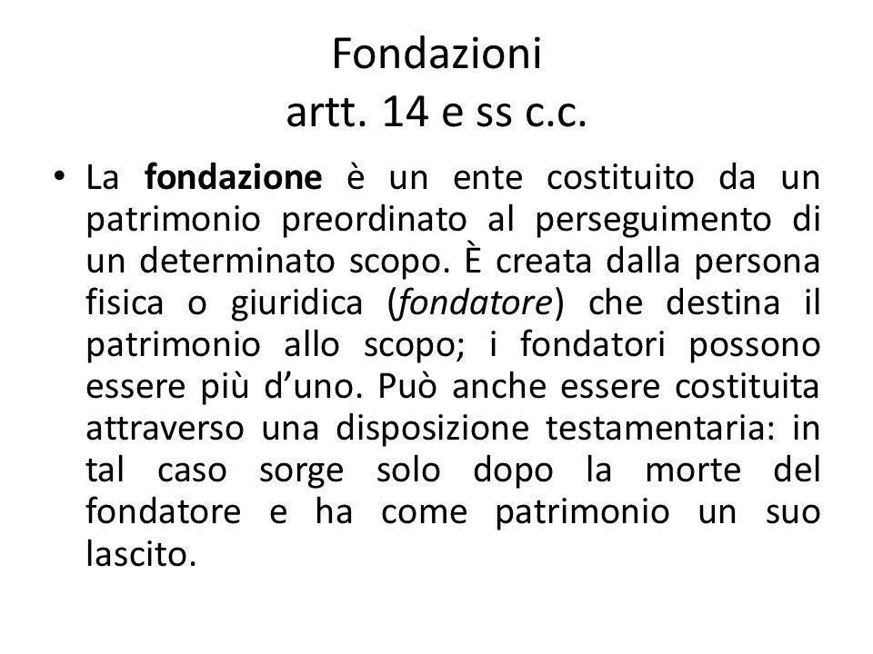 Fondazioni artt. 14 e ss c.c.
