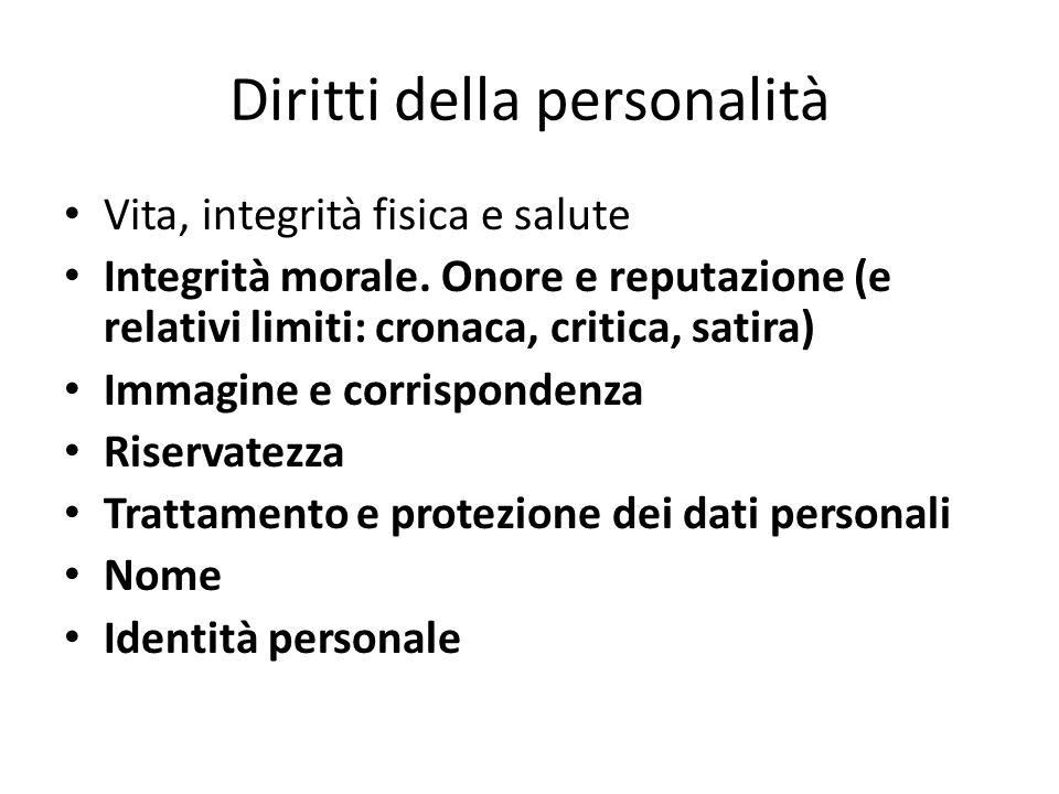 Diritti della personalità Vita, integrità fisica e salute Integrità morale.
