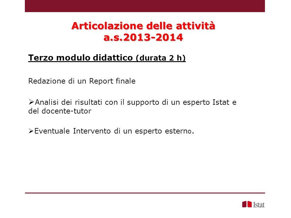 Redazione di un Report finale Analisi dei risultati con il supporto di un esperto Istat e del docente-tutor Eventuale Intervento di un esperto estern o.