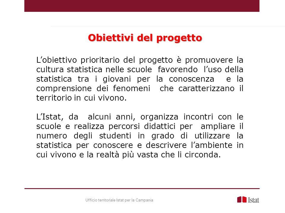 Lobiettivo prioritario del progetto è promuovere la cultura statistica nelle scuole favorendo luso della statistica tra i giovani per la conoscenza e la comprensione dei fenomeni che caratterizzano il territorio in cui vivono.