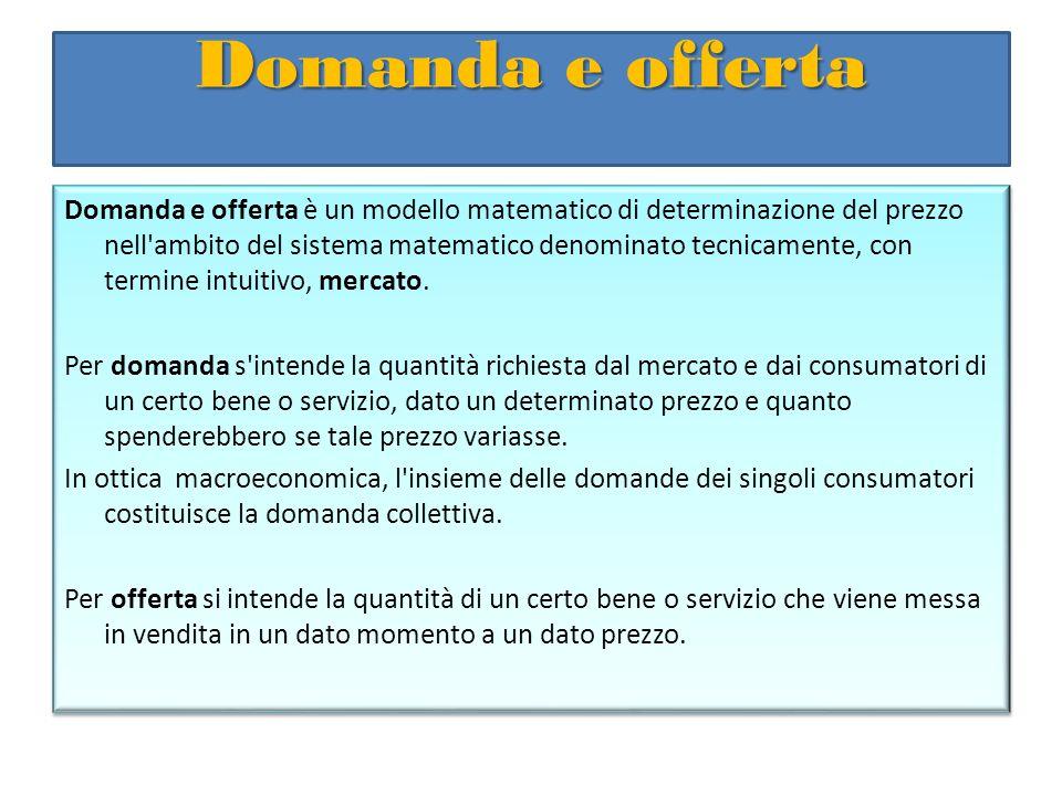 Domanda e offerta Domanda e offerta è un modello matematico di determinazione del prezzo nell'ambito del sistema matematico denominato tecnicamente, c