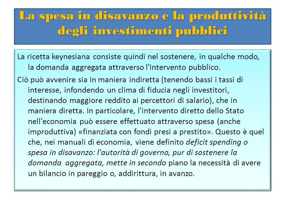 La spesa in disavanzo e la produttività degli investimenti pubblici La ricetta keynesiana consiste quindi nel sostenere, in qualche modo, la domanda a