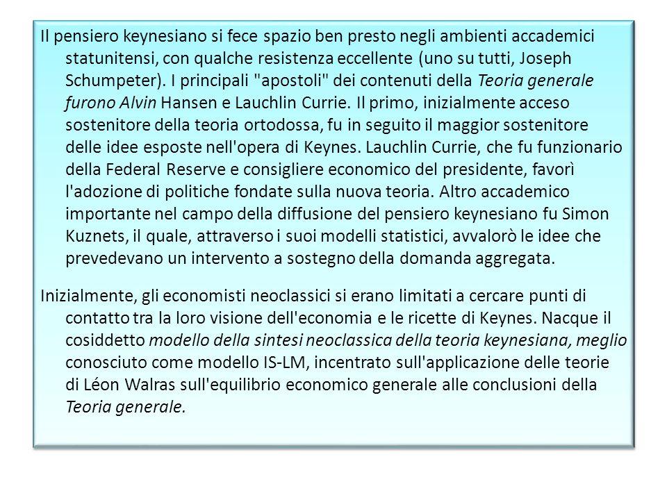 Il pensiero keynesiano si fece spazio ben presto negli ambienti accademici statunitensi, con qualche resistenza eccellente (uno su tutti, Joseph Schum