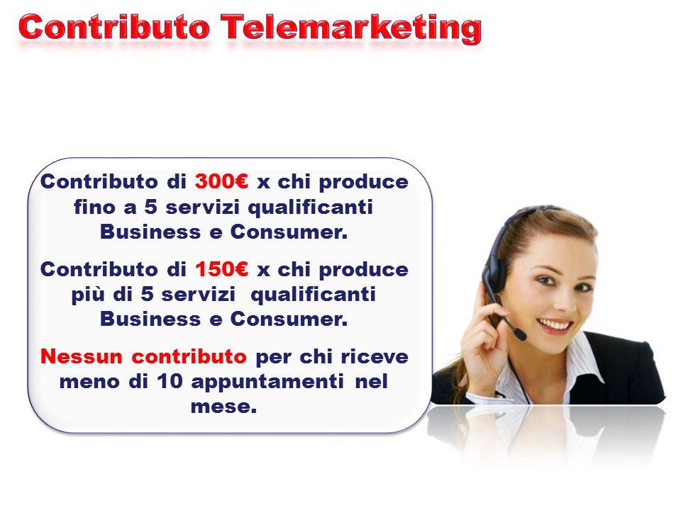 Contributo di 300 x chi produce fino a 5 servizi qualificanti Business e Consumer. Contributo di 150 x chi produce più di 5 servizi qualificanti Busin