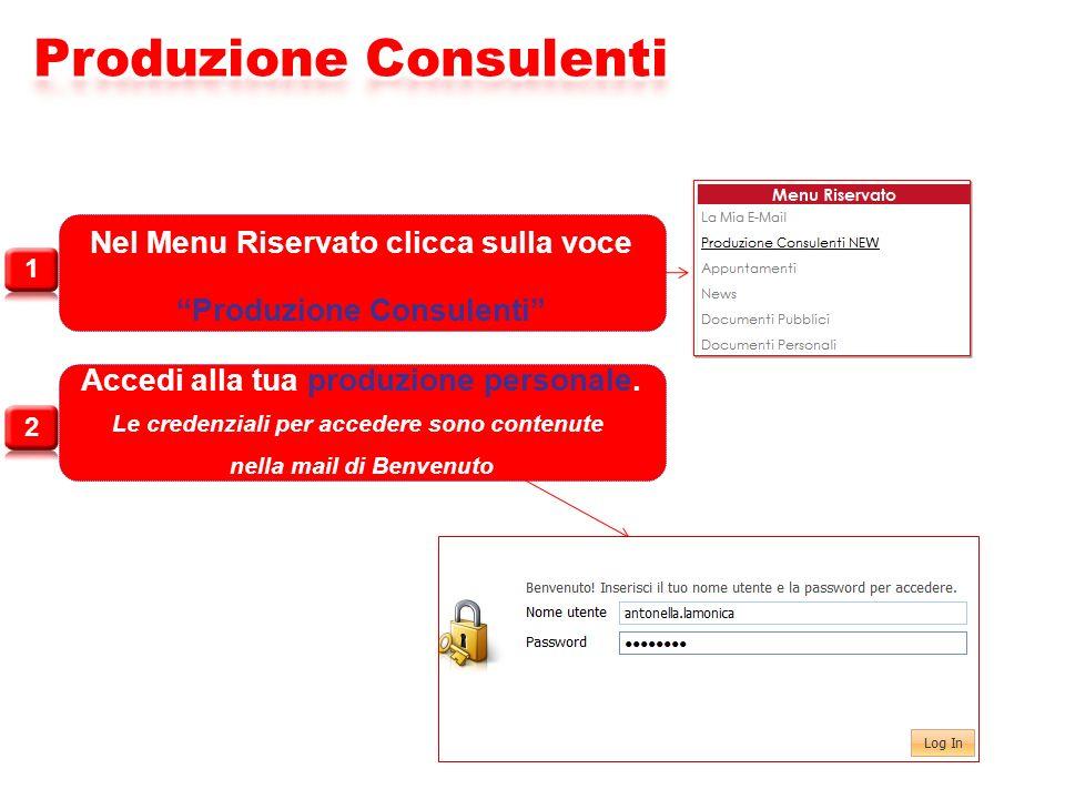 Nel Menu Riservato clicca sulla voce Produzione Consulenti Accedi alla tua produzione personale. Le credenziali per accedere sono contenute nella mail