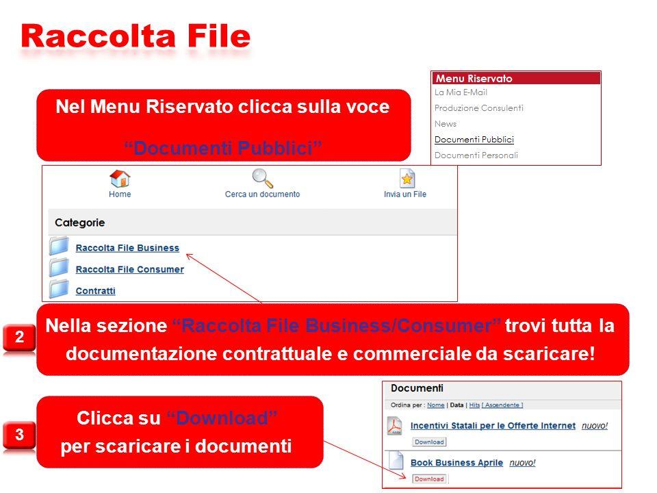 Nel Menu Riservato clicca sulla voce Documenti Pubblici Nella sezione Raccolta File Business/Consumer trovi tutta la documentazione contrattuale e commerciale da scaricare.