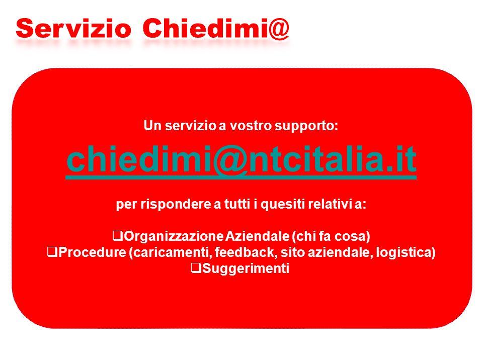 Un servizio a vostro supporto: chiedimi@ntcitalia.it per rispondere a tutti i quesiti relativi a: Organizzazione Aziendale (chi fa cosa) Procedure (caricamenti, feedback, sito aziendale, logistica) Suggerimenti