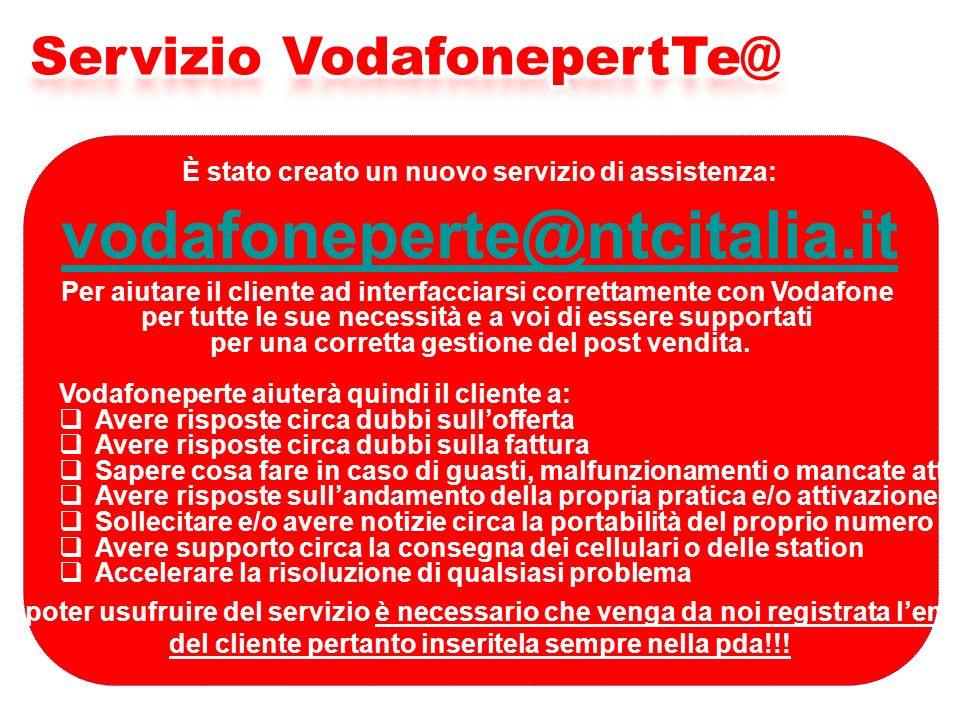 È stato creato un nuovo servizio di assistenza: vodafoneperte@ntcitalia.it Per aiutare il cliente ad interfacciarsi correttamente con Vodafone per tutte le sue necessità e a voi di essere supportati per una corretta gestione del post vendita.